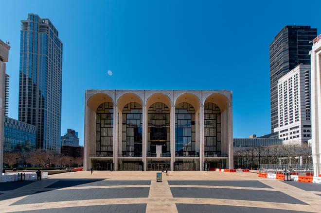 Lincoln Plaza with the Metropolitan Opera House in New York, April 2021