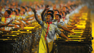 2,008 people drumming to one beat at the Beijing 2008 Olympics Opening Ceremony
