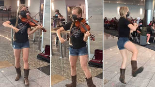 Violinist plays joyous bluegrass while tap-dancing for delayed airport crowd
