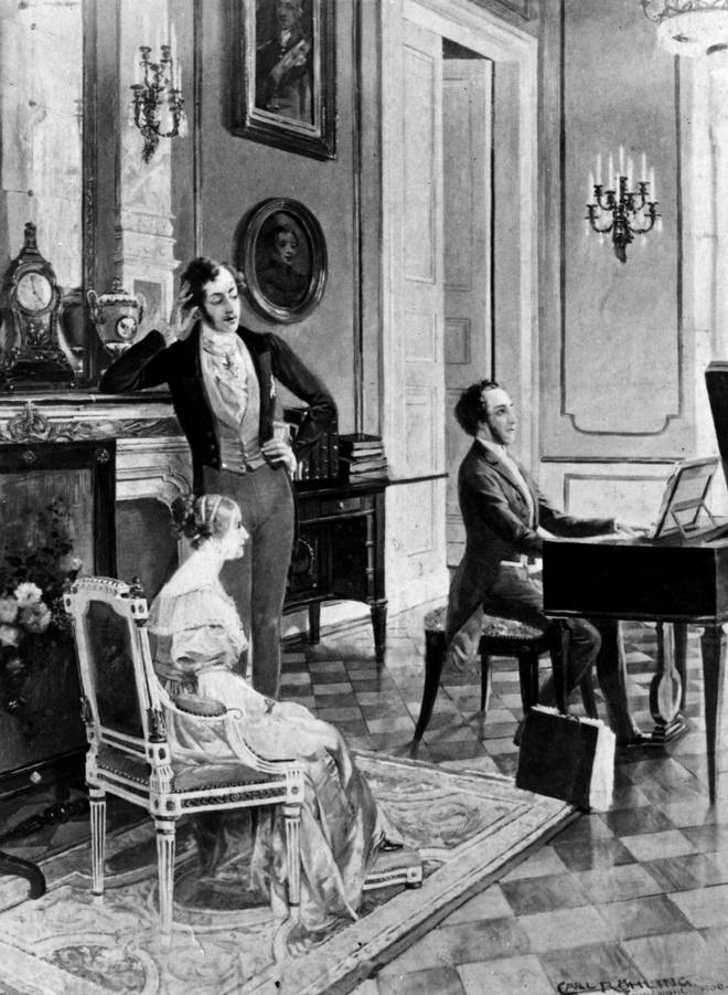 Felix Mendelssohn performs for Queen Victoria and Prince Albert