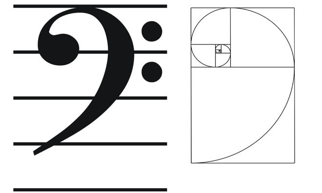 The bass clef and Fibonacci spiral