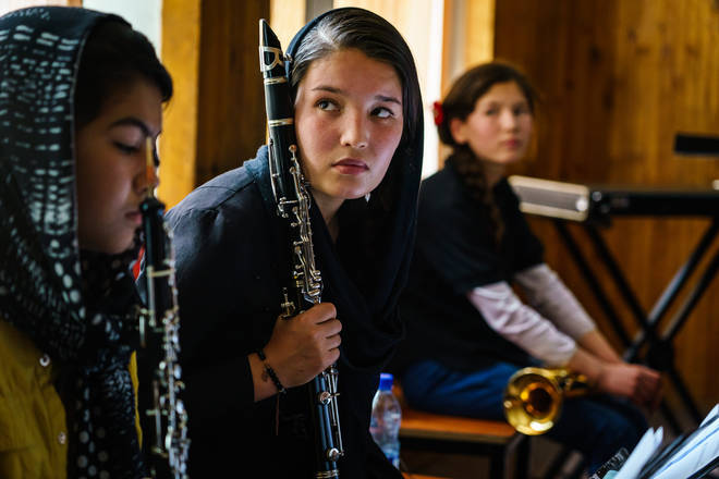 Members of Zohra, Afghanistan's all-female orchestra in May 2021