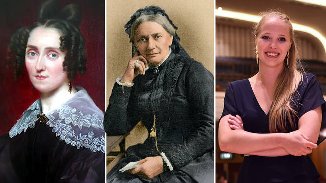 From left: leading composers Louise Farrenc, Clara Schumann and Dani Howard