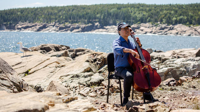 Yo-Yo Ma plays his cello at Acadia National Park in Maine, US