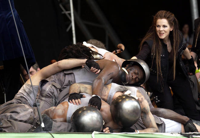 English National Opera perform Wagner's Ride of the Valkyries on the Pyramid stage at Glastonbury Festival