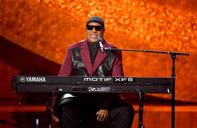 Stevie Wonder performs on stage at Q85