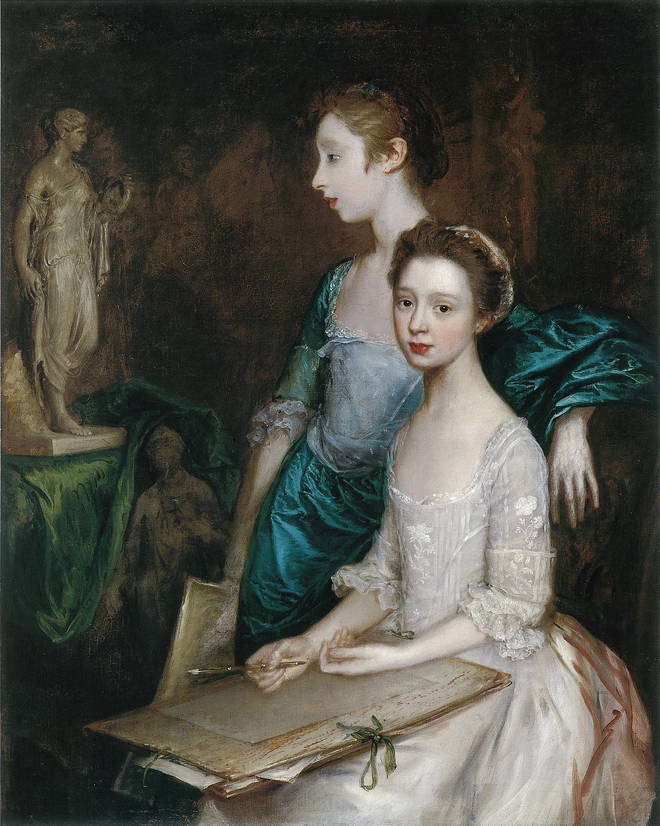 Mary and Margaret Gainsborough, the Artist's Daughters, at their Drawing by Thomas Gainsborough, c.1763-4 (detail). Worcester Art Museum, Massachusetts, USA. Museum Purchased, 1917.181