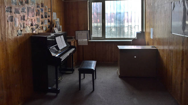 Empty music room at the Afghanistan National Institute of Music in Kabul