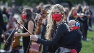 'Let Music Live' protest outside parliament.