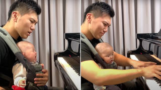 Pianist dad plays La Campanella to soothe crying baby, and it works splendidly