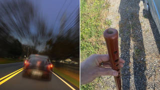 Flautist caught playing flute while driving