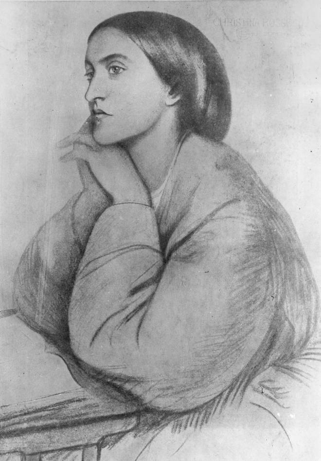 English poet Christina Rossetti, drawn by her brother Dante Gabriel Rossetti
