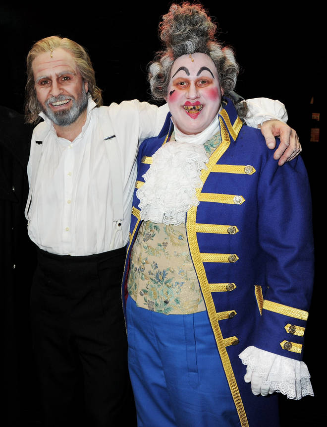 Alfie Boe (left) and Matt Lucas (right) in the 25th anniversary concert of Les Misérables at The O2 Arena