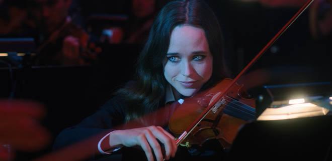 Ellen Page plays the violin