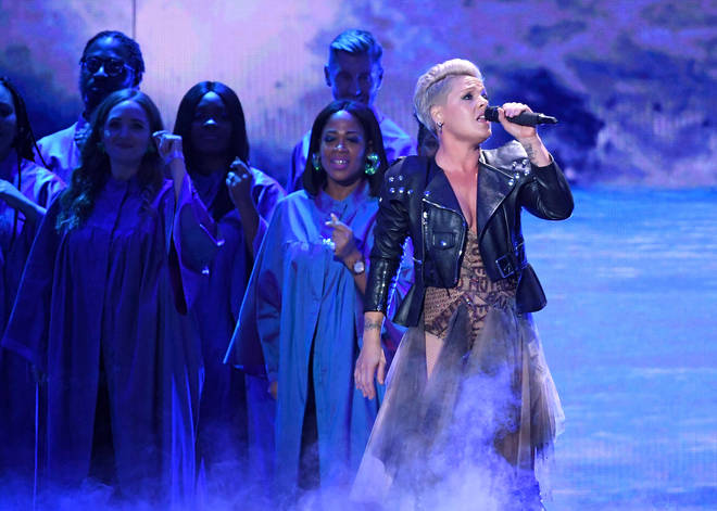 Pink performs at The BRIT Awards 2019