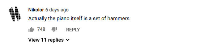 YouTube hammer comment
