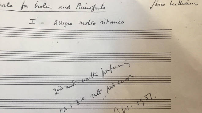 Grace Willams' Violin Sonata manuscript