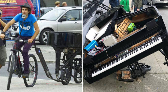 Bicycling pianist crashes in San Francisco – and destroys his beloved baby grand