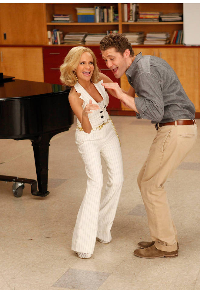 Chenoweth, pictured with Matthew Morrison, was nominated for an Emmy for her Glee appearance