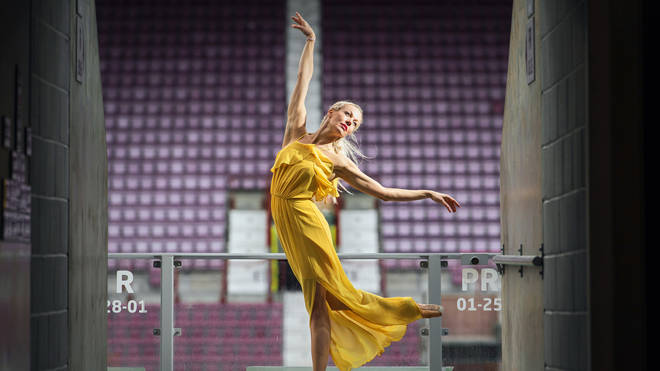 Dancer Eve Mutso poses at Festival venue Tynecastle Park to celebrate the launch of the 2019 Edinburgh International Festival programme