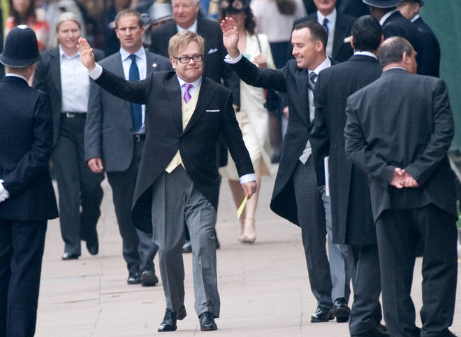 Sir Elton John attends the Royal Wedding in 2018