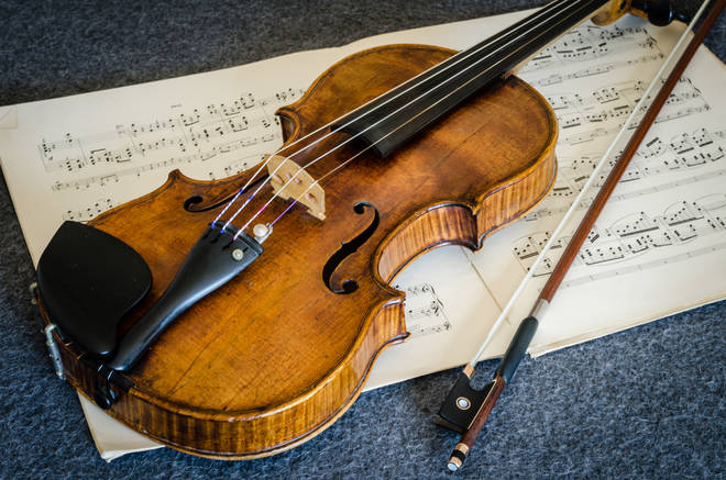 Stock image of an old violin