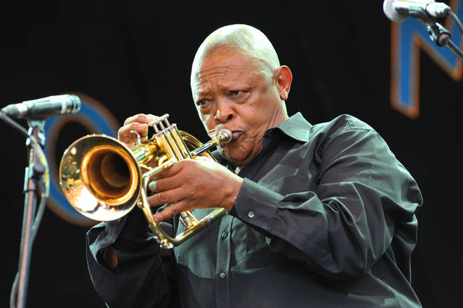 Hugh Masekela performs at world music festival Womad