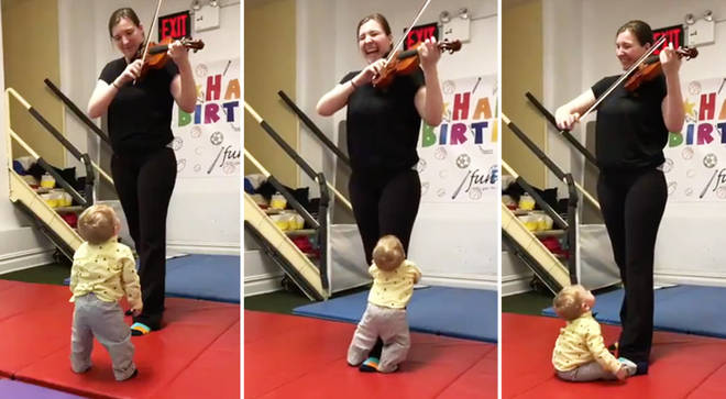 Baby reacts to violin