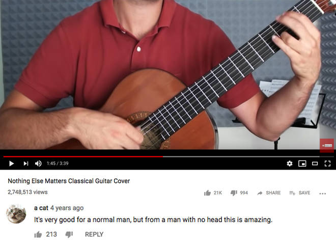 Guitar YouTube comment