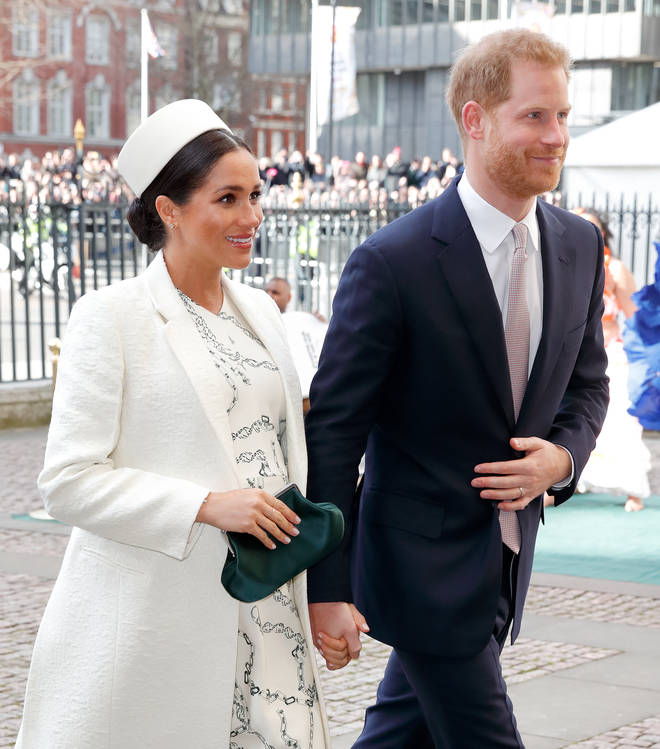 Meghan, pictured with Harry, went into labour on Monday morning