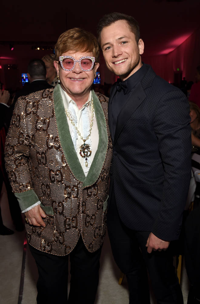 Elton John and Taron Egerton attend the 27th Annual Elton John AIDS Foundation Academy Awards Viewing Party