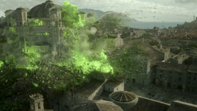 Cersei blew up the Sept in the season 6 finale, using Wildfire