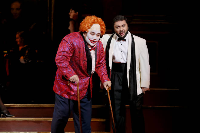 Amartüvshin Enkhbat as Rigoletto and Liparit Avetisyan as Duke of Mantua in Opera Australia's 2019 production of Rigoletto at Arts Centre Melbourne.
