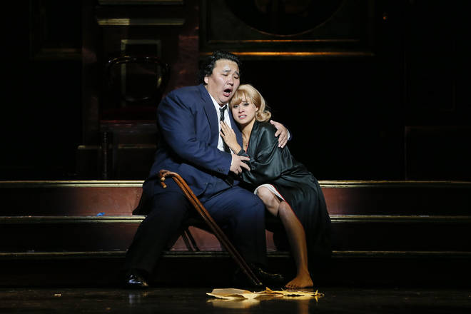 Amartüvshin Enkhbat as Rigoletto and Stacey Alleaume as Gilda in Opera Australia's 2019 production of Rigoletto at Arts Centre Melbourne.
