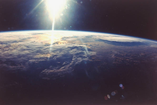 View of sunlight over Earth taken from space