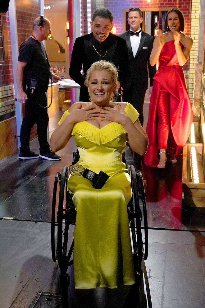 Ali Stroker celebrates her win for Best Featured Actress in a Musical