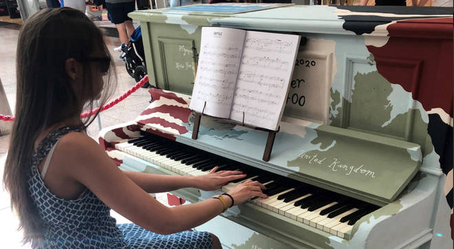 The new piano in Drake Circus, Plymouth