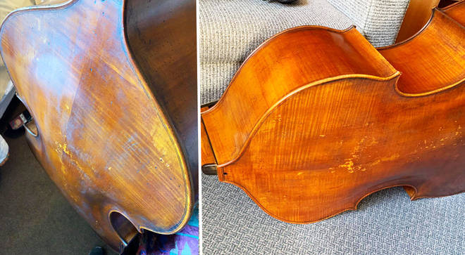 This double bass flew with an airline but arrived damaged