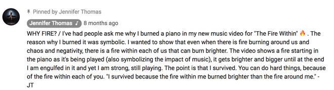 Jennifer Thomas' response to her new music video