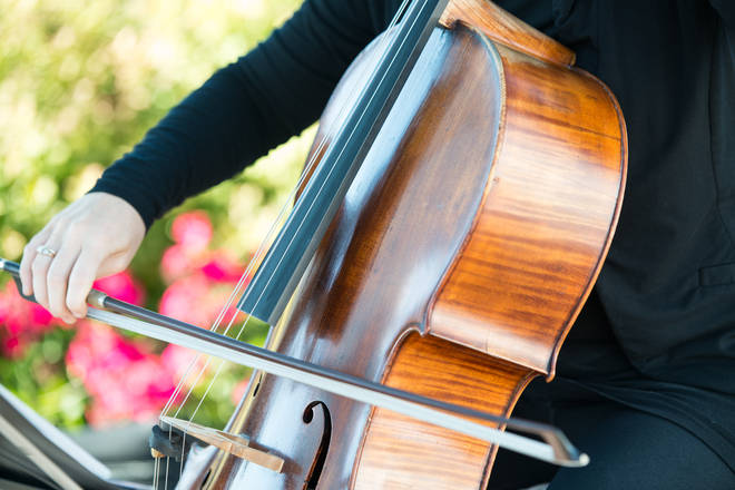 Cellist performs in the garden.