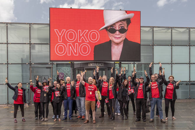 Yoko Ono is campaigning for peace with a mass bell-ringing ceremony