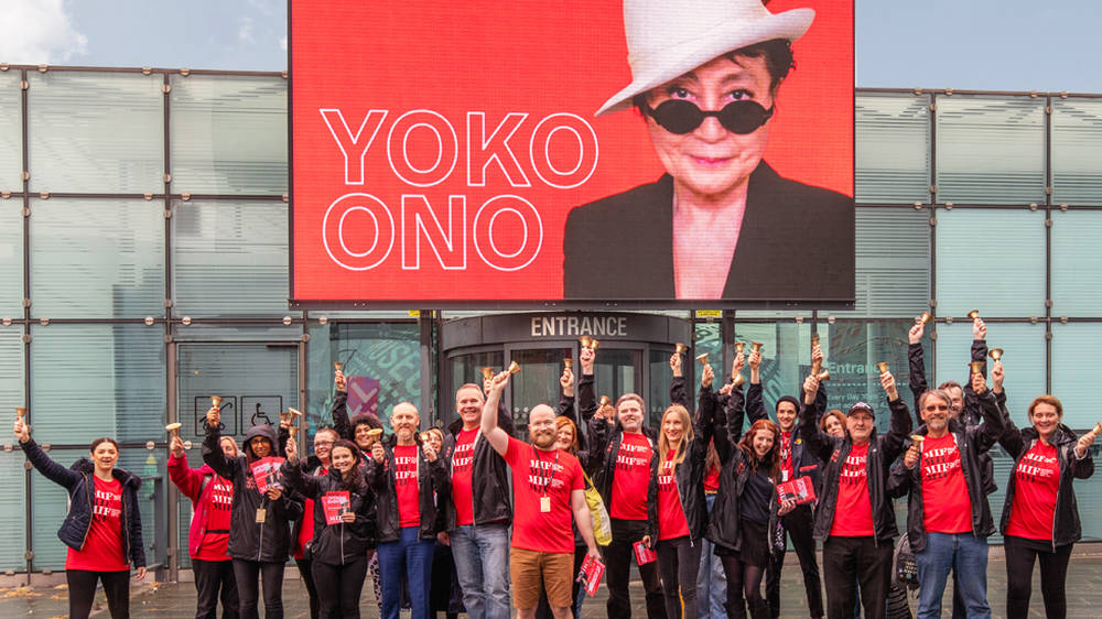 Yoko Ono is campaigning for peace with a mass bell-ringing ceremony in Manchester