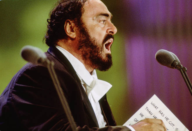 Luciano Pavarotti Performs at The Three Tenors Concert at Dodger Stadium, Los Angeles