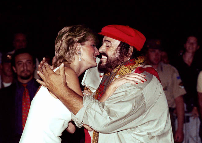 Pavarotti greets Diana, Princess of Wales