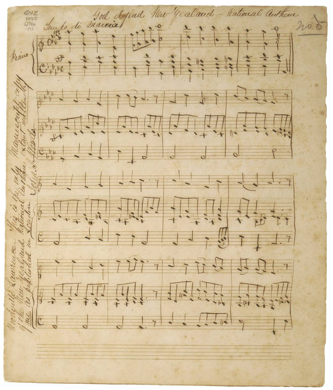 The first page of Woods' original manuscript, setting Bracken's poem to music