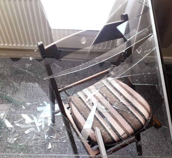 Glass smashed over Ms Murrell's chair