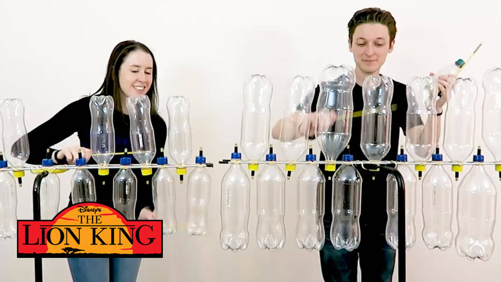 Watch this epic Disney medley played on rows of plastic bottles