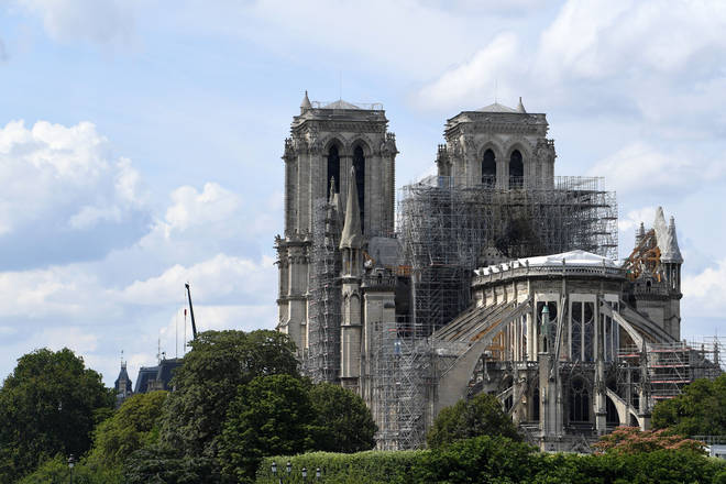 Notre-Dame Cathedral in July 2019 amid reconstruction works after the fire