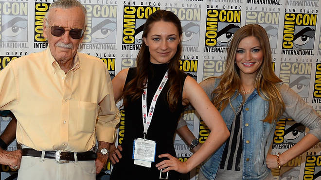 Sonya Belousova (middle) pictured with Stan Lee and Justine Ezarik