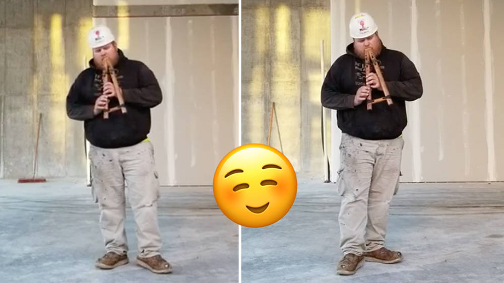 A construction worker played his Native American flute on a building site… and the acoustic was amazing